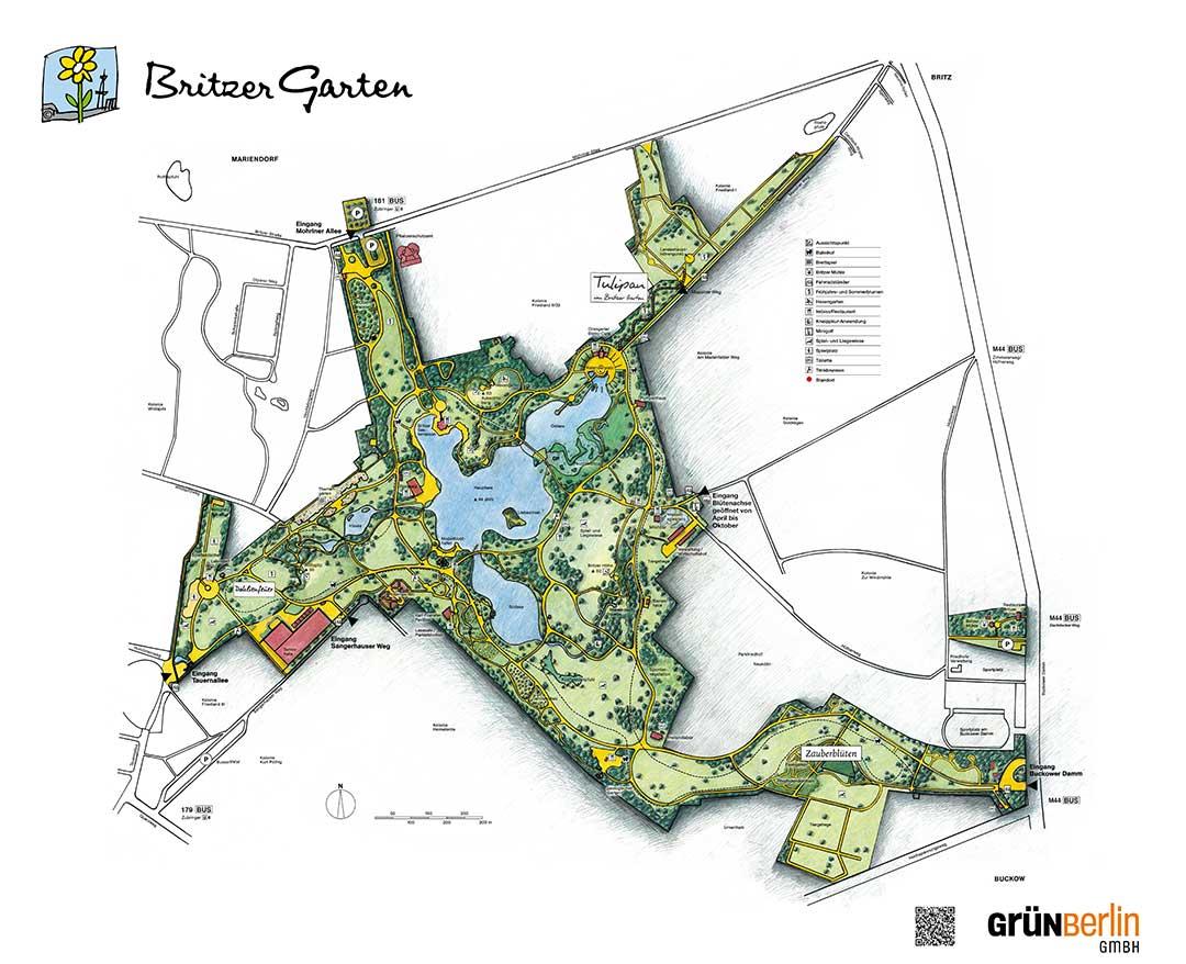 Plan du Britzer Garten à Berlin