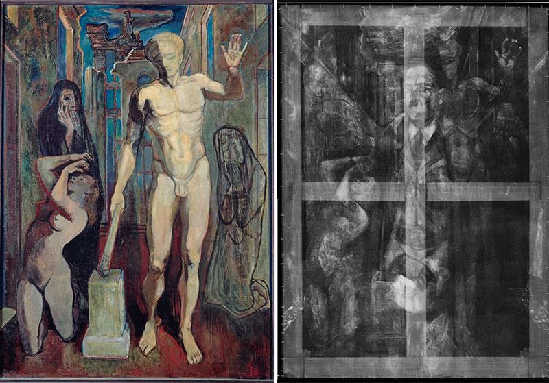 Sur la version originelle de Großes Requiem, là droite aux rayons X, le peintre Erwin Hahns avait placé Hitler au milieu d'une scène qui ne le mettait pas en valeur du tout.