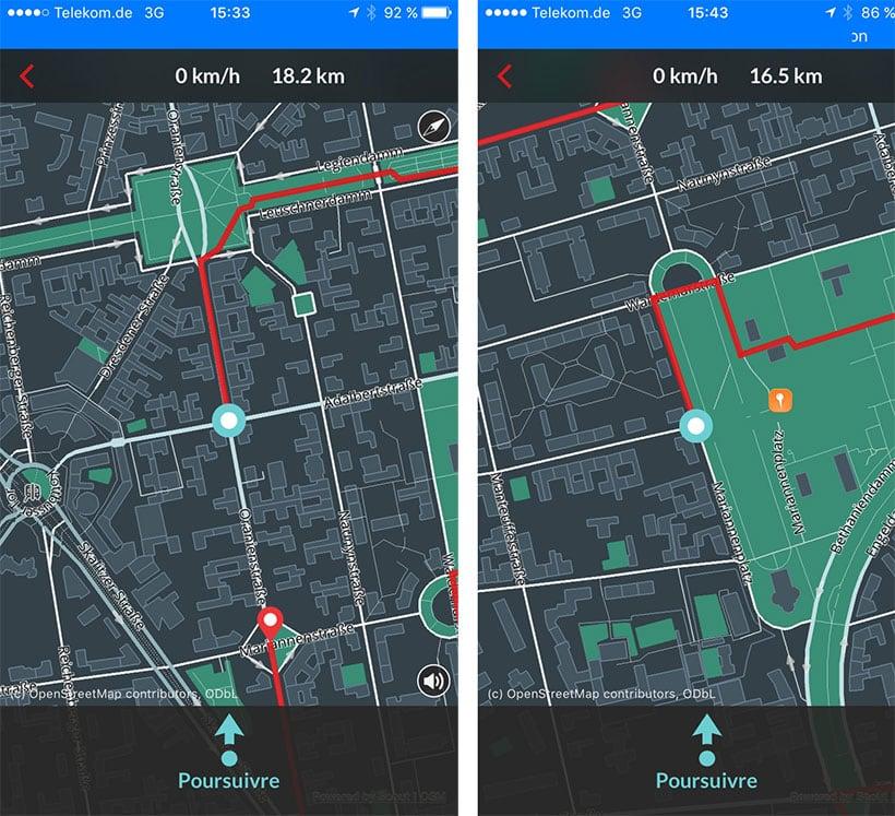 Deux écrans de Bike Citizens