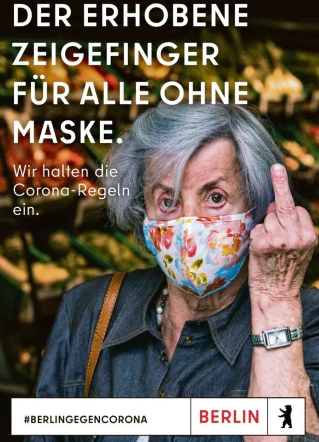 Berlingegencorona : Der erhobene Zeigefinger für alle ohne maske