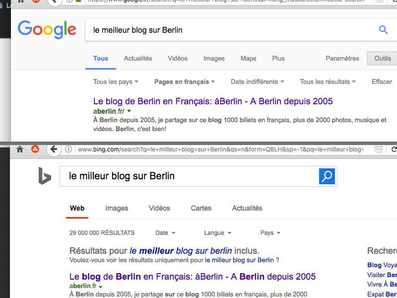 Le meilleur blog sur Berlin d'après Googl et Bing